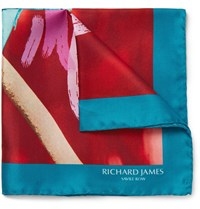 Richard James Kingfisher Print Silk Twill Pocket Square Red