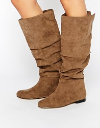 Asos Collaborate Knee High Flat Slouch Boots Beige
