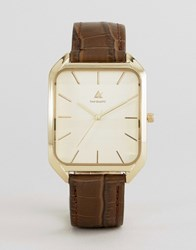 Asos Leather Watch With Square Face Brown