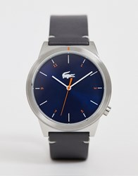 Lacoste Motion Leather Watch In Grey With Blue Dial