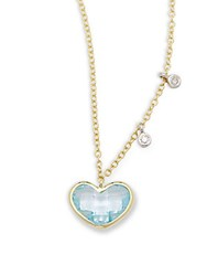 Meira T Diamond Blue Topaz And 14K Yellow Gold Heart Pendant Necklace No Color
