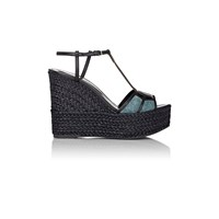 Sergio Rossi Puzzle Wedge Espadrille Sandals Blue