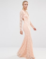 City Goddess Long Sleeve Open Back Lace Maxi Dress Pale Pink