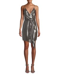 Cami Nyc Tori Metallic Twist Front Cocktail Dress Pewter