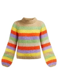 Ganni Julliard Striped Mohair And Wool Blend Sweater Multi