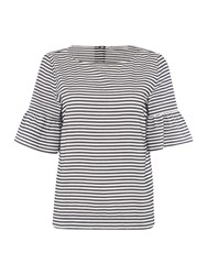 Marella Mattino 3 4 Flared Sleeve Striped Top Black