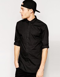 Standard Issue Exclusive Longline Button Down Shirt Black