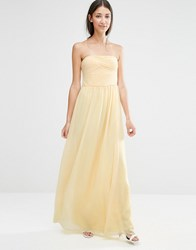 Vila Ruched Bodie Bandeau Maxi Bridemaid Dress Pale Banana Yellow