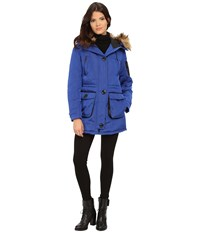 Rainforest Nylon Puffer With Fur Hood Cobalt Women's Coat Blue