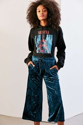 Silence And Noise Tabitha Crushed Velvet Culotte Pant Blue