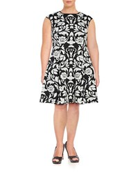 Vince Camuto Plus Floral Jacquard Fit And Flare Dress Black White