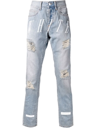 Off White Distressed Striped Jeans Blue