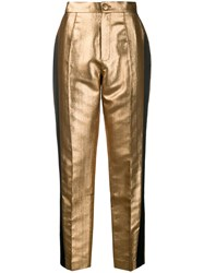 Dice Kayek Tapered Side Stripe Trousers Gold