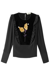 Fendi Silk Blouse With Velvet And Fur Black