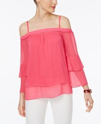 Inc International Concepts Tiered Off The Shoulder Top Only At Macy's Pink Light