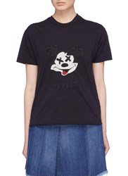 Sandrine Rose 'The Two Hundred' Graphic Embroidered T Shirt Black