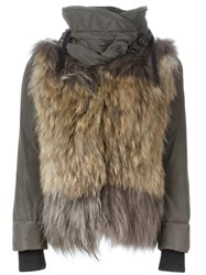 Moncler Fur Panel Padded Jacket Nude Neutrals