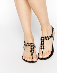 Truffle Collection Flower Toe Post Flat Sandals Black