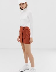 Asos Design Wrap Mini Skirt With Horn Buckle Red