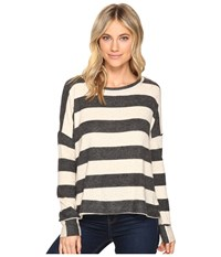 Culture Phit Masie Round Neck Striped Sweater Oatmeal Charcoal Women's Sweater White