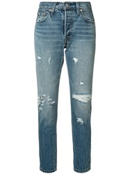 Levi's Distressed Straight Leg Jeans Blue