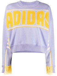 Adidas Logo Intarsia Cropped Jumper Purple