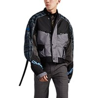 Cmmn Swdn Logo Colorblocked And Plaid Motocross Jacket Blue