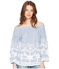 Blank Nyc Striped Cotton Voile Off Shoulder Top With Embroidery Just My Stripe Clothing Blue