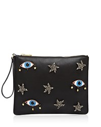 Cynthia Rowley Embellished Eye Wristlet Black