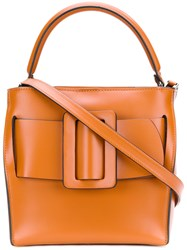 Boyy Tote Bag With Buckle Detail Leather Yellow Orange