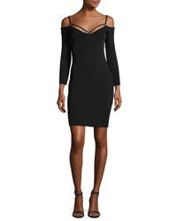 Alexander Wang Stretch Faille Strappy Cold Shoulder Dress Black