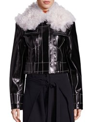 Proenza Schouler Faux Fur And Faux Leather Jacket Black