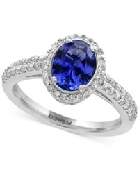 Effy Tanzanite Royale Tanzanite 1 1 8 Ct. T.W. And Diamond 1 3 Ct. T.W. Ring In 14K White Gold Blue