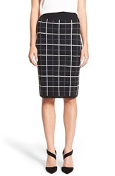 Women's Halogen Windowpane Check Knit Pencil Skirt Black Grey Allegra Pattern