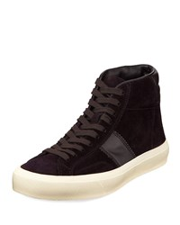 Tom Ford Cambridge Suede High Top Sneakers Black
