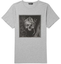 Alexander Mcqueen Oversized Printed Cotton Jersey T Shirt Gray