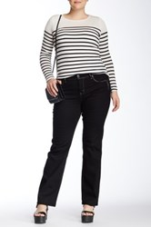 Grace In La Denim Embellished Straight Leg Jean Plus Size Black