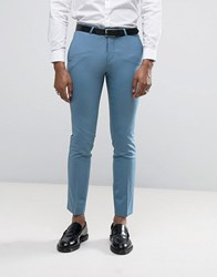 Noose And Monkey Super Skinny Wedding Suit Trousers Dusty Blue