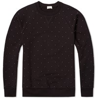 Saint Laurent Studded Crew Neck Sweat Black And Silver