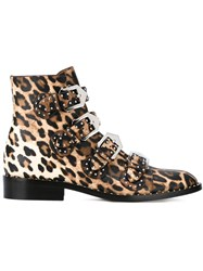 Givenchy Leopard Print Boots Black