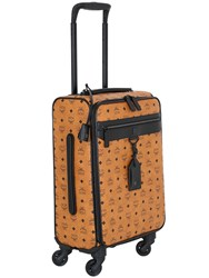 Mcm Logo Faux Leather Wheeled Suitcase