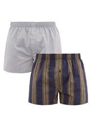 Hanro Pack Of Two Cotton Poplin Boxer Shorts Blue Multi