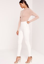 Missguided High Waisted Jeggings White