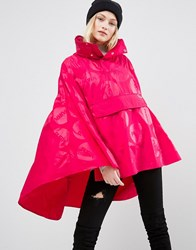 Puffa Piquet Poncho Raincoat Pink Black