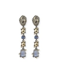 Alexis Bittar Linear Mixed Cut Crystal Drop Earrings Blue