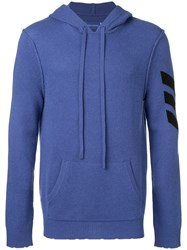 Zadig And Voltaire Arrow Intarsia Knit Hoodie Blue
