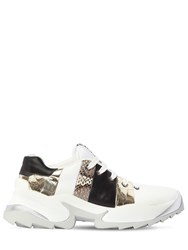 Sergio Rossi 50Mm Extreme Striped Leather Sneakers White