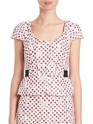 Oscar De La Renta Printed Cap Sleeve Peplum Top White Red