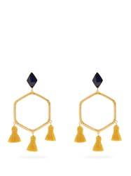 Marte Frisnes Cooper Gold Plated Tassel Earrings Navy