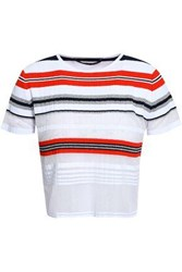 Antonino Valenti Tinsel Trimmed Striped Stretch And Open Knit Top White